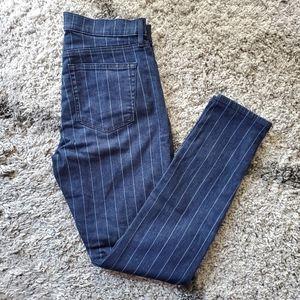 NWT LOFT Pinstripe Skinny Jeans In Dark Rinse Wash